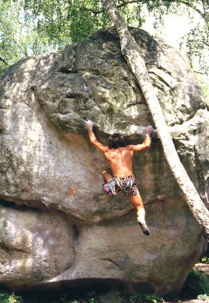 Rock Climbing Photo: Bob Horan bouldering in Fountainbleu.