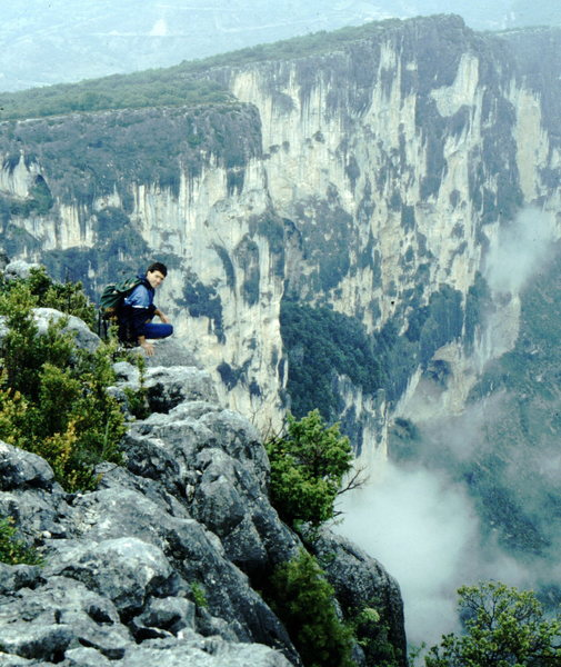 Rock Climbing Photo: Bob Horan arriving at the Gorge du Verdon, France
