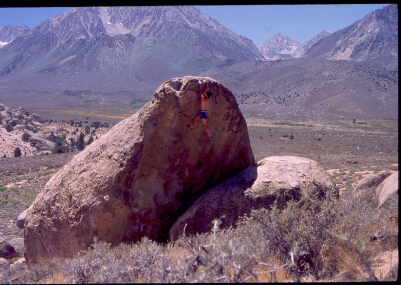 Bob Horan bouldering in the Buttermilks.