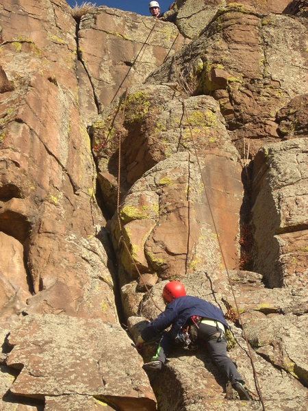 Rock Climbing Photo: The route finishes on the crack.  Above and slight...