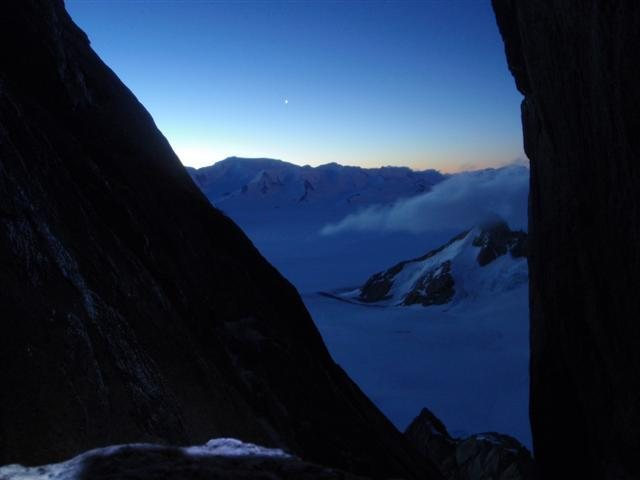looking out at the ice cap from the standhart bifada col