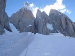 Rock Climbing Photo: Alan below cerro torre on the approach to standhar...