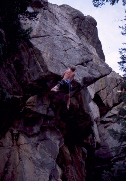 Swinging out of the crux on Dream Machine, photo: Bob Horan Collection.