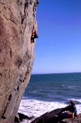 Rock Climbing Photo: Doug Engelkirk on the once infamous Mickey's Beach...