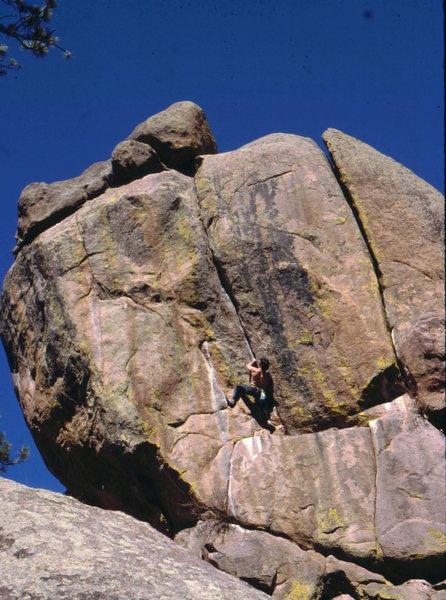 Crack climbing at Buttonrock, photo: Bob Horan Collection.