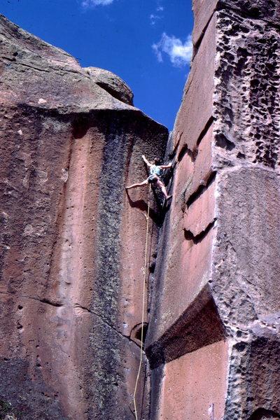 Steve Mestdagh climbing at Penitente, photo: Bob Horan.