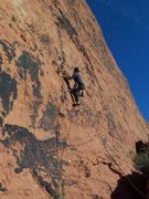 Rock Climbing Photo: Gary Schmidt leading. Just got the first piece of ...