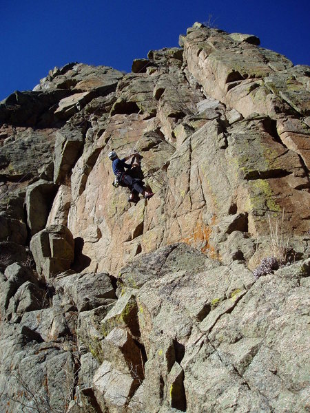 Rock Climbing Photo: Laying off the corner at the crux.