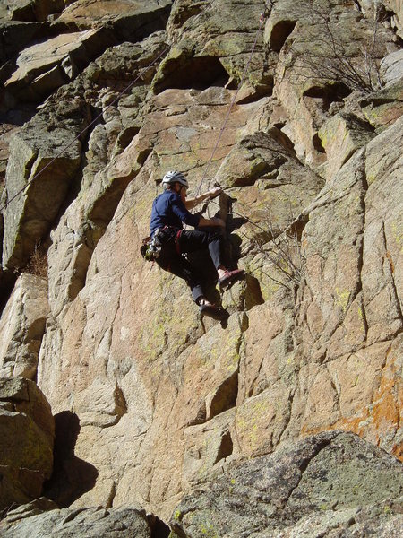 The crux looks easy in this photo and from the ground. It's not.
