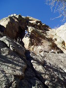 Rock Climbing Photo: Luke starting up the shallow corner after the open...