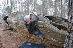 Rock Climbing Photo: Hank moving for the topout.