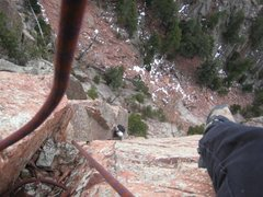 Rock Climbing Photo: Right before the lieback/roof crux on this awesome...