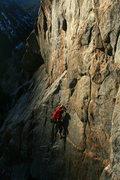 Rock Climbing Photo: Ian racing the sun up Jolt Cola.