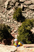 Rock Climbing Photo: Steve finishing pitch two, miles of beautiful fing...