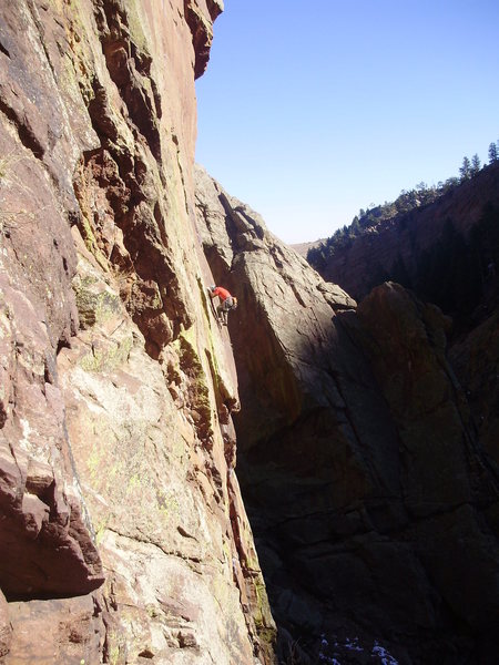 Rock Climbing Photo: Unknown climber on Genesis? ...taken from Redguard...