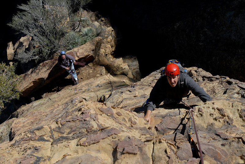 Rock Climbing Photo: David Abzug climbs Rational Expectations as David ...