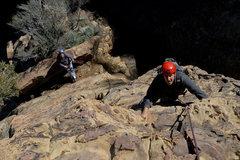 Rock Climbing Photo: David Abzug climbs Rational Expectations as David ...