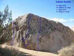 Rock Climbing Photo: Photo/topo for Sidekick Boulder, Joshua Tree.