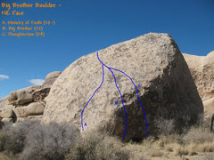 Rock Climbing Photo: Photo/topo for Big Brother Boulder, Joshua Tree NP