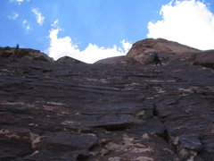 Rock Climbing Photo: The view from the spacious belay atop the pillar, ...