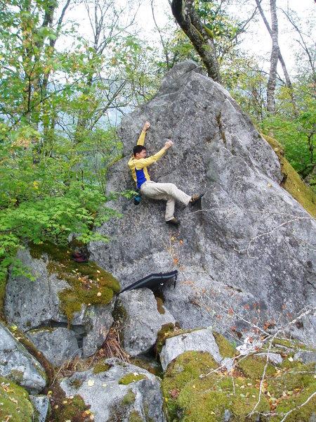 Rock Climbing Photo: Steve near the top of Eye in the Pyramid.