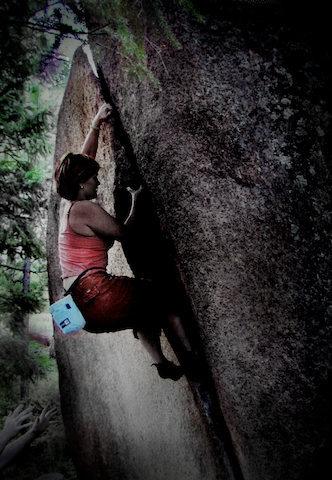 "Jaime climbs ""The Platte Crack""."