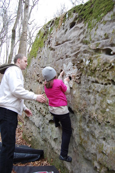 Kianna bouldering w/ uncle Bubba spotting.