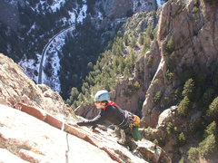 Rock Climbing Photo: Deb at the top of P3 on Icarus.