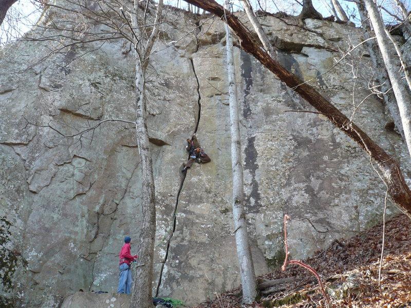 Rock Climbing Photo: John K's onsight of Hackberry Crack