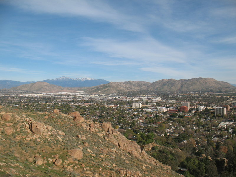 Downtown Riverside and beyond from the Beehive Wall, Mt. Rubidoux