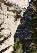 Rock Climbing Photo: Dan (Area Dan) moving through the crux on a beauti...