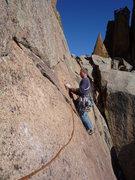 Rock Climbing Photo: At the first bolt on the 4th pitch.