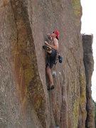 Rock Climbing Photo: Scott mid-reach at the crux.