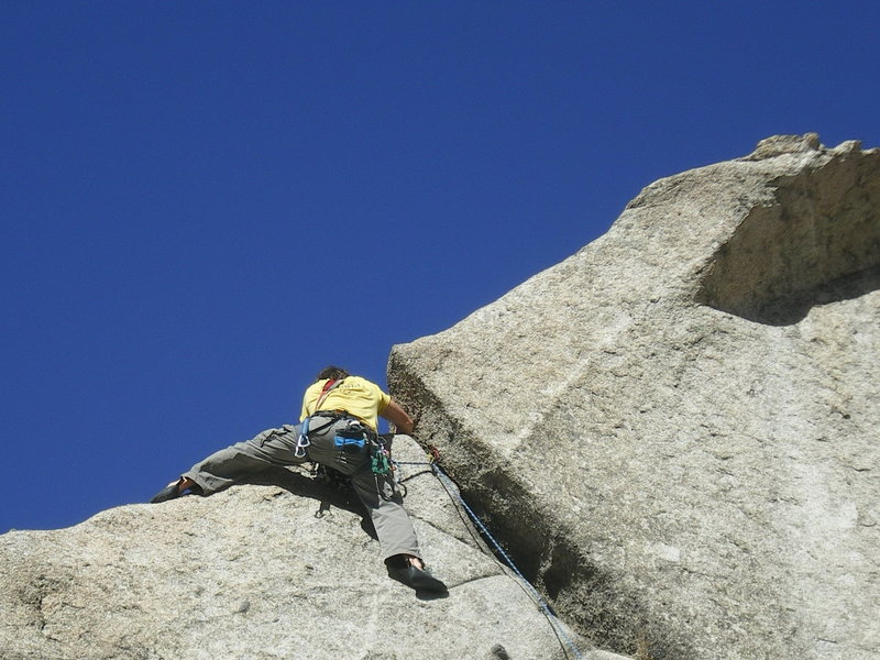 Rock Climbing Photo: Avoiding croutons while flanking out the final mov...