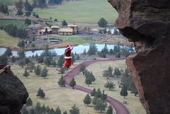 Rock Climbing Photo: Santa on the Monkey Highline