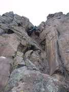 Rock Climbing Photo: Stemming at the top.