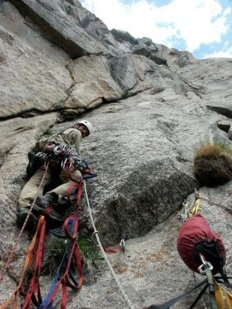 Steve, Eggman, Eginore, aid climbing on Insectaphobia, the Pope's Nose.  Photo: Dan Steaves.