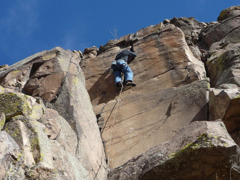 Rock Climbing Photo: Mark Roth on the upper crack, 2nd crux.