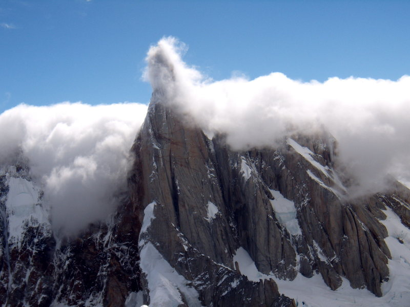 Cerro Torre.  Clouds pouring in from the ice-cap-  January 2009.