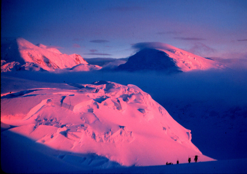 Denali. West Buttress. Mt Foraker in the background.  This was Ray Genet's last trip up Denali.