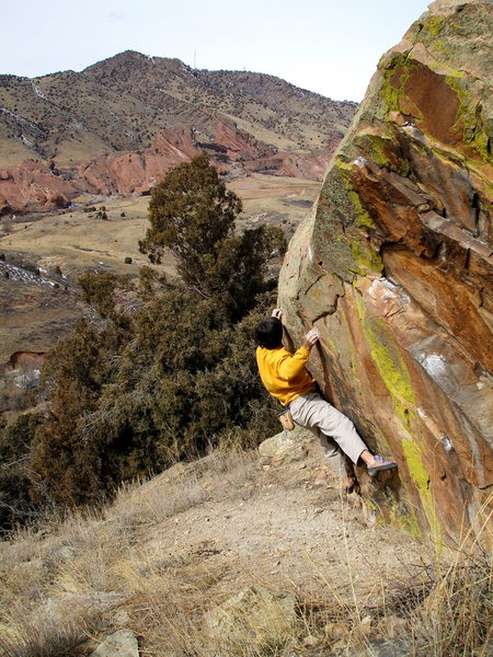 Bouldering above the town of Morrison, before a show at Red Rocks.