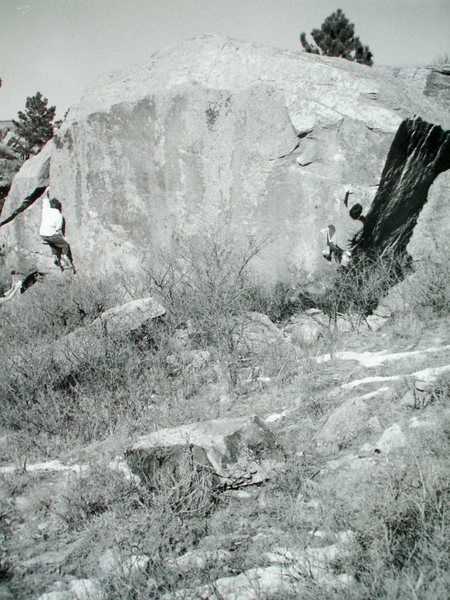 Rock Climbing Photo: The McCarron brothers bouldering at the Tooth.