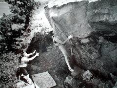 Rock Climbing Photo: Jim Karn floats the Pinch, Mental Block.