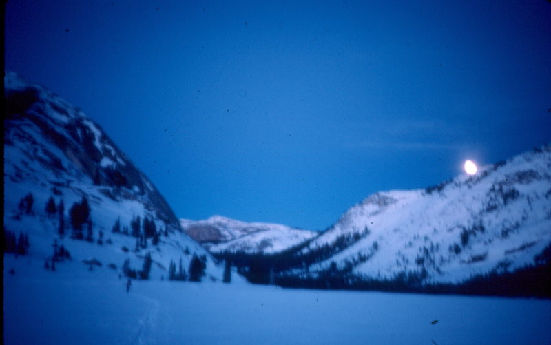 Tenaya Lake and Peak, Stately Pleasure Dome. Yosemite.  I know this is blurry, but that is how we felt at this point.  We skied up the Snow Creek Trail from the Valley, breaking thru 2 feet of snow.