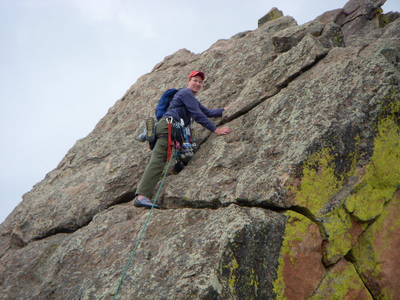 Mike running the Ridgeline of 1st Flatiron Direct, Boulder, CO.  1,000ft of 5.6 slab cruising Jun 2008.