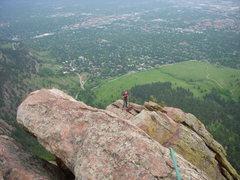 Rock Climbing Photo: Amanda seconds 1st Flatiron Direct East, Boulder, ...