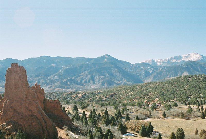 montezuma's tower with pikes peak