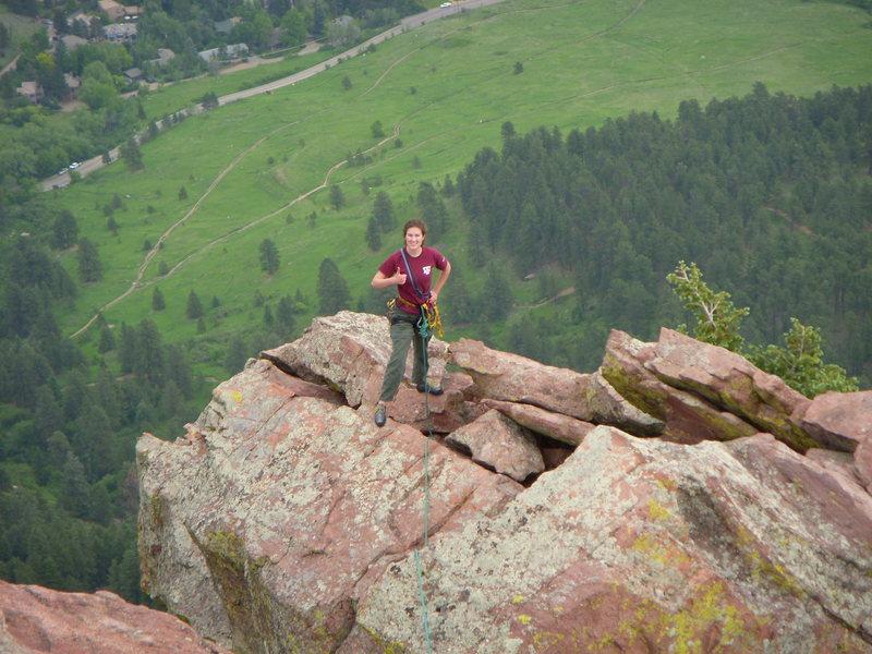 Amanda seconds 1st Flatiron Direct, here running the ridgeline Jun 2008.