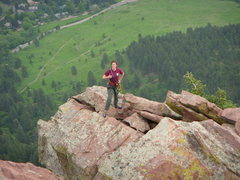 Rock Climbing Photo: Amanda seconds 1st Flatiron Direct, here running t...
