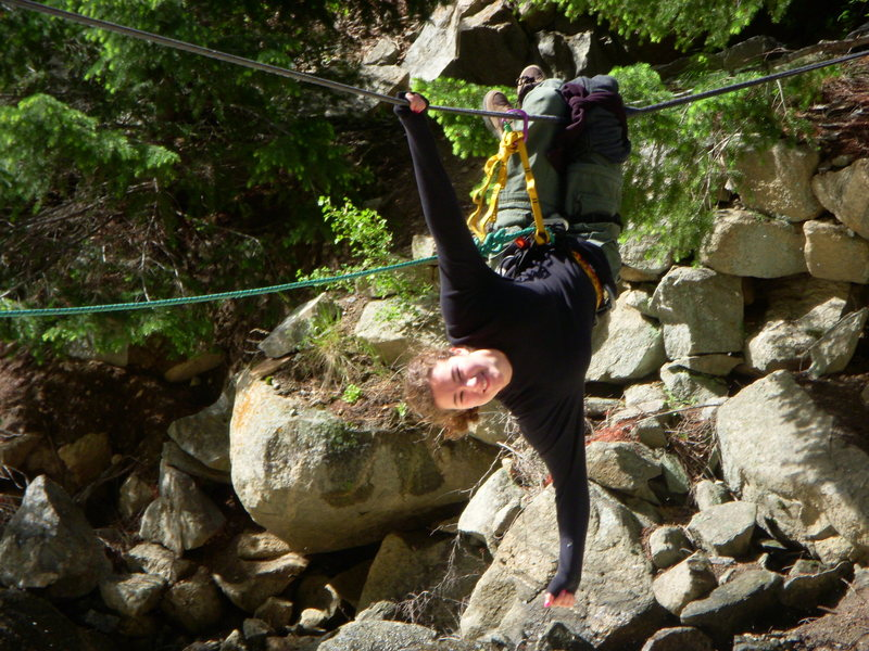 Amanda goofing off on Tyrolian traverese of Boulder Creek Jun 2008.